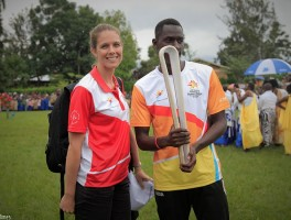 Crowds welcome the Queen's Baton Relay in Rubavu district.